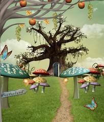 Wall Mural - Wonderland series - Wonderland footpath