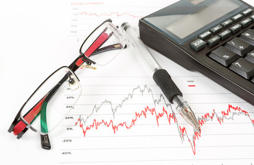 calculator, charts, pen, glass, workplace businessman, business