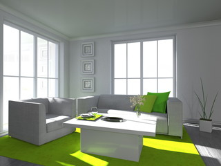 Wohndesign - Wohnen in weiß und grün