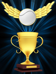 Gold Cup with a tennis ball with wings on an abstract background