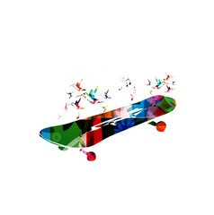 Colorful vector skateboard background with hummingbirds