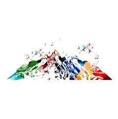 Colorful vector mountains background with hummingbirds