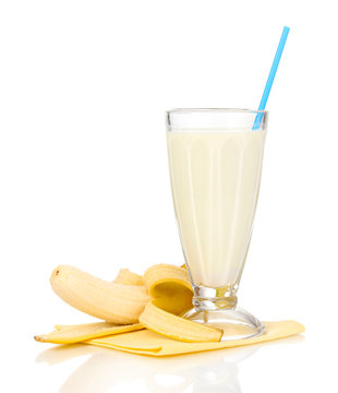 Banana milk shake isolated on white