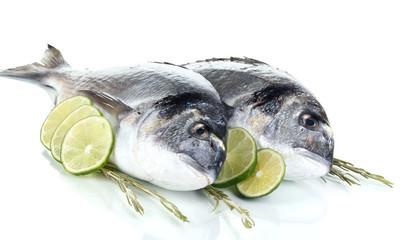 Fototapeten Fisch Two fish dorado with lemon isolated on white