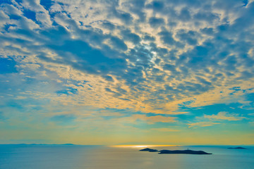 Wall Mural - Greece, sunny sky above Siros island