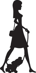 Lady Walking Puppy Silhouette