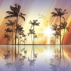 Wall Mural - Palm trees at sunset with reflection in water