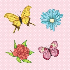 Papiers peints Papillons Love, cute icons