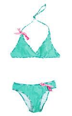 Cross-front polka dots green bikini with pink laces
