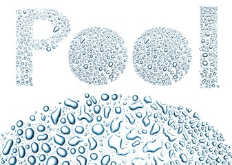 Pool made of water drops, background on white