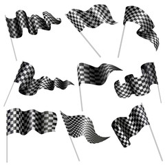 vector illustration of collection of checkered flag
