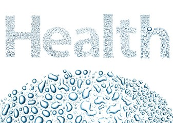 Health made of water drops, background on white