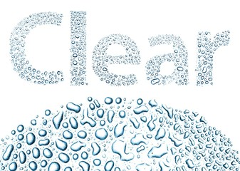 Clear made of water drops, background on white