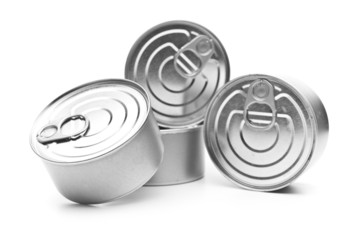 Pile of cans of conserved food over white background