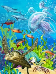 Poster Submarine The coral reef - illustration for the children