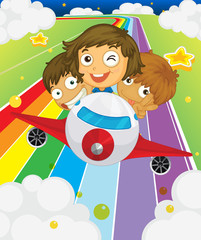 Door stickers Rainbow A plane with three playful kids