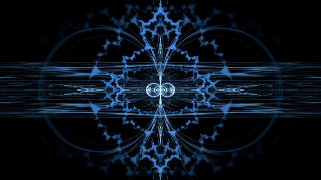 Fractal flame background. Blue mandelbrot.