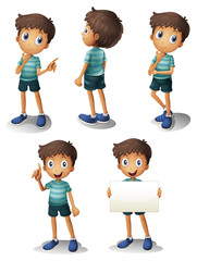 A young boy in different positions