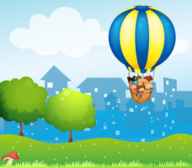 A big hot air balloon with kids