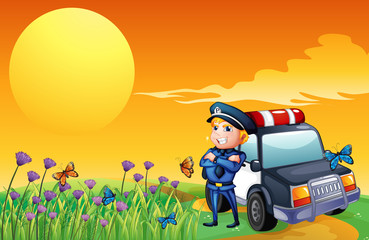 Printed kitchen splashbacks Butterflies A sunset view with a policeman and a car at the hill