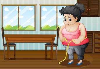 A sad fat woman