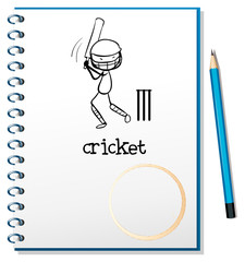 A notebook with a sketch of a man playing cricket
