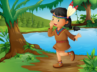 In de dag Indiërs An Indian girl in the forest