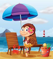 Photo sur Aluminium Riviere, lac A monkey in a hawaiian attire at the beach