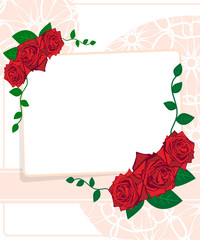 Wedding card. Greeting card with roses
