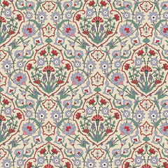 Arabesque seamless pattern with carnations