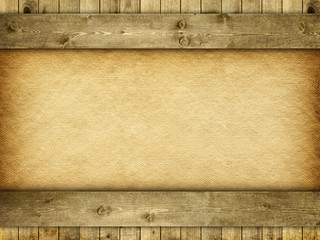 Template background - planks and handmade paper or canvas