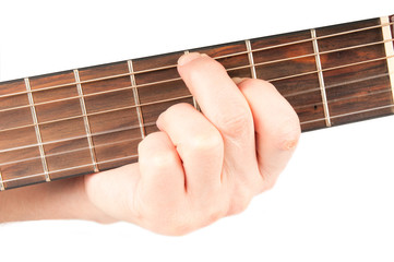 Acoustic guitar with performer hands