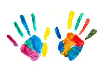 Hands painted, stamped on paper, colorful fun