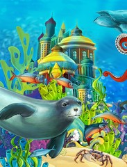 Poster Submarine The underwater castle - princess series