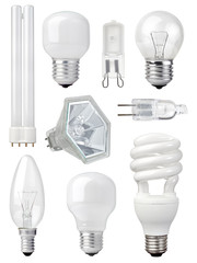 collection of different kind of light bulbs
