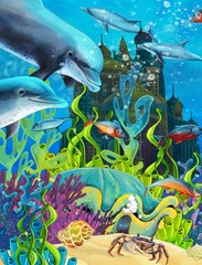 Printed roller blinds Submarine The underwater castle - princess series