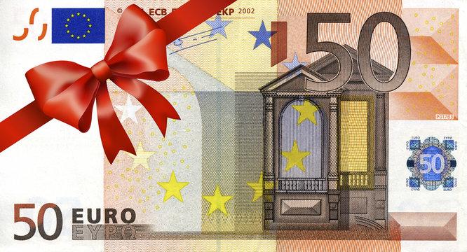 50 Euroschein mit rotem Band und Schleife