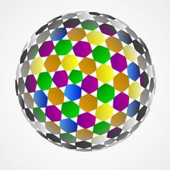 hexagonal sphere center colored composition vector