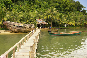 Wooden jetty at local village, Ream National Park, Cambodia