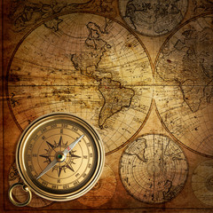Fototapete - old compass on vintage map 1746