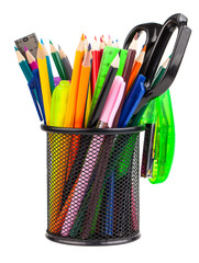 Office cup with scissors, pencils and pens