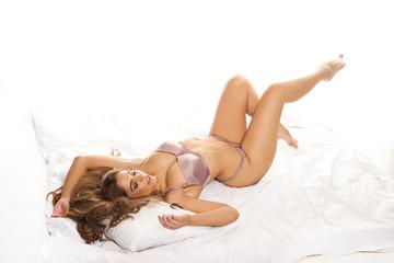 Beautiful curvy woman in lingerie