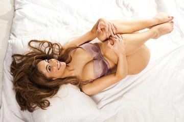 Beautiful happy woman in lingerie