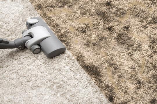 Vacuuming dirty carpet