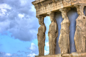 Fototapete - Caryatids in Erechtheum from Athenian Acropolis,Greece