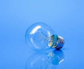 A light bulb, isolated on blue background