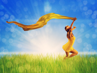Woman jumping on a grass field