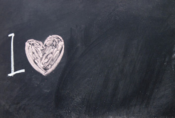 love sign drawn with chalk on blackboard