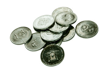 Somalia coins isolated on white