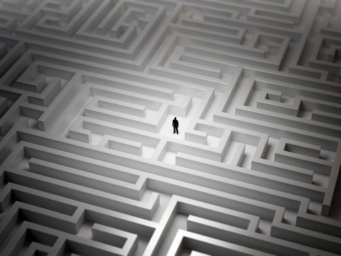 Tiny man in a maze